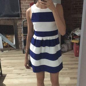 Blue white striped dress- reversible!